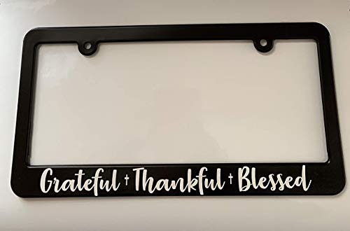 Grateful Thankful Blessed License Plate Frame Holder Christian Jesus God