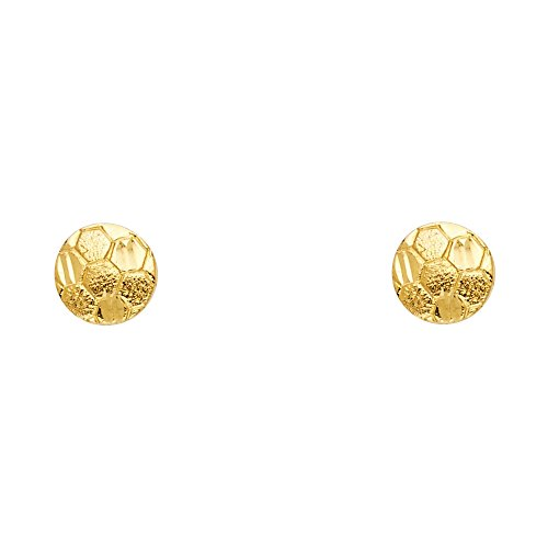 14k Yellow Gold Soccer Ball Stud Earrings (8mm Diameter) 14k Yellow Gold Soccer Ball