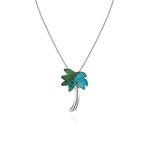 Sterling Silver Simulated Turquoise Polished Palm Tree Slide Pendant Necklace