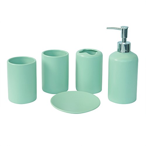 NarwalDate Modern Solid 5 pieces Bathroom Toiletries Accessory Set, Includes Decorative Countertop Soap Dish & Dispenser, Tumbler, Toothbrush Holder (Green)