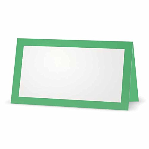 Mint Green Place Cards - Flat or Tent - 10 or 50 Pack - White Blank Front with Solid Color Border - Placement Table Name Seating Stationery Party Supplies Occasion or Dinner Event (10, Tent Style)