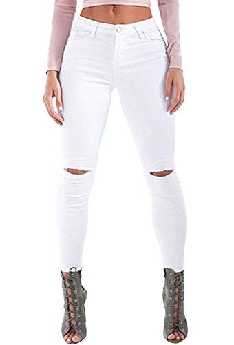Ermonn Women's Knee-cut Ripped Stretch Skinny Jeans Denim Leggings