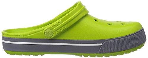 crocs Cband2.5Clog Lgr/Ebl M4/W6 - Zuecos de goma para hombre Verde (Volt Green/Charcoal)