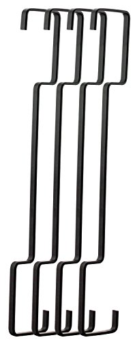 RuiLing 4-Pack 12 Inch Black Chrome Finish Steel Hanging Flat Hooks - S Shaped Creativity Hook Heavy-Duty S Hooks, for Clothes, Pants, Utensils, Plants, Towels, Gardening Tools. by RuiLing