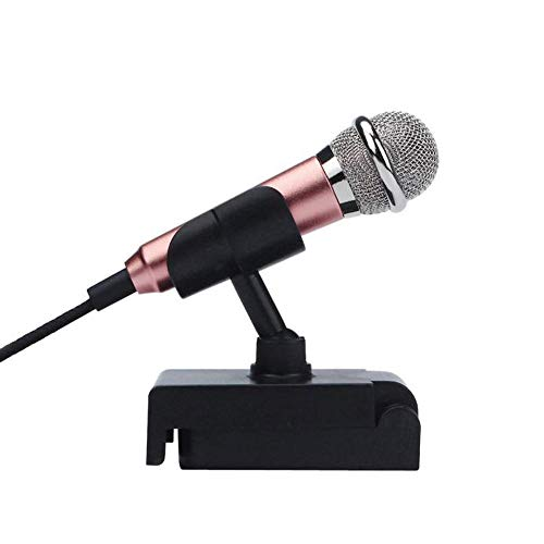 (YRD TECH Mini Condenser Microphone, 3.5mm Mic Cable Instrument Microphone Compatible Mobile Phone/Laptop/ Notebook/Apple iPhone/Sumsung/ Android with Stand Holder (Rose Gold))