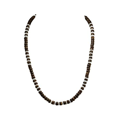 BlueRica Brown Coconut Wood Beads Necklace with Puka Shell Beads