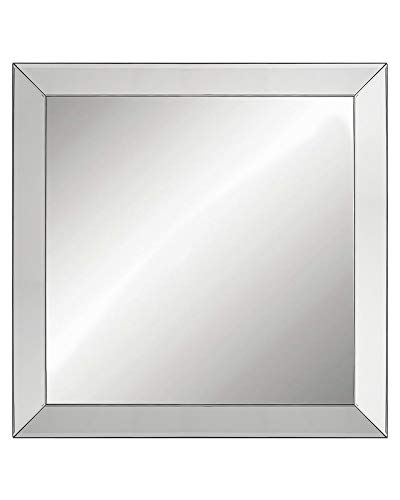 Large Elegant Framed Wall-Mounted Mirror with Angled Beveled Mirror Frame, Bathroom Vanity -