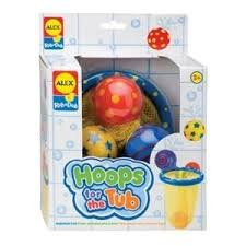Game / Play ALEX® Toys Bathtime Fun Hoops For The Tub 694, Includes 3 colorful balls, Suction-cup net hold balls Toy / Child / Kid