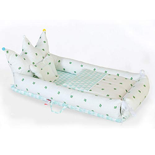 Bionic Bed Cotton Sleeping Bed Bassinet Travel Cot Breathable Nest with Pillow and Quilt (Color : White) ()