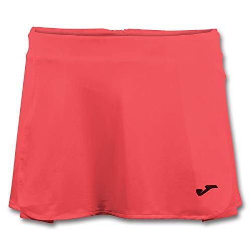 Falda corta de tenis para mujer en color neón coral