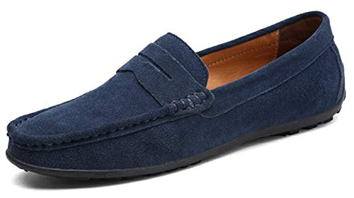 (Go Tour Mens Driving Penny Loafers Suede Moccasins Slip On Casual Dress Boat Shoes Dark Blue)
