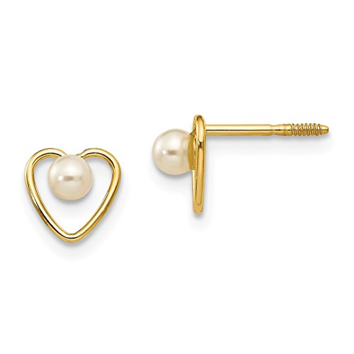 14k Yellow Gold 3mm Freshwater Cultured Pearl Birthstone Heart Earrings Love Fine Jewelry For Women Gift Set