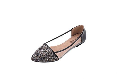 Loafer Shoes Sparkling Lady Embellish Mila Mavis Slip New Glitter Flat Black Fashion Ballet P8gUWc