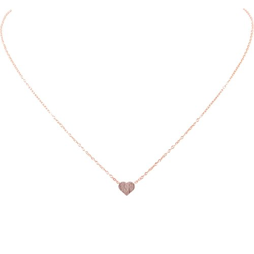 Pink Rose Heart - Humble Chic Tiny Heart Necklace - Delicate Dainty Pendant Chain Link Mini Charm, Rose Gold-Tone, Pink