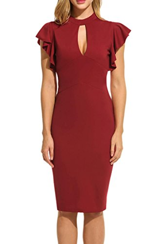 DonKap Women¡¯s V Neck Ruffle Cap Sleeves Back ZipperWear-To-Work Bodycon Office Dress Wine Red S? (Heels V-neck)