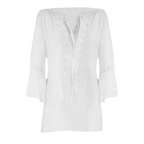 Dressin Women Plus Size T-Shirt Ladies Loose Solid Color V-Neck Lace Long Sleeve Blouse Pullover Tops Shirt Tunic White ()