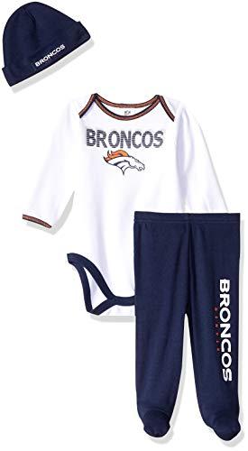 NFL Denver Broncos Unisex-Baby Bodysuit, Pant, Cap Set, Blue, 6-9 -