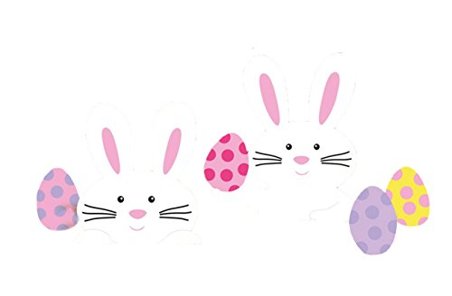 (Easter Bunny Yard Party Outdoor Plastic Sign Decoration (5 Pieces), Multi Color, Assorted Sizes, 23.5