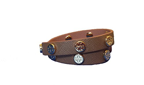 Tory Burch Double Wrap Logo T Bracelet with Gold Studs - Brown (Tiger's ()