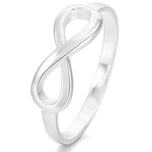 [INBLUE Women's 925 Sterling Silver Ring Silver Tone Infinity Symbol Size9] (Unique Costume Jewelry Rings)