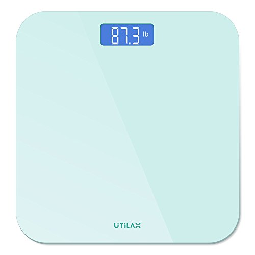 Digital Body Weight Bathroom Scale by Utilax, Show Room Temperature, Sleek Design, Backlit Display, 6 mm Tempered Glass, Easy To use (White)