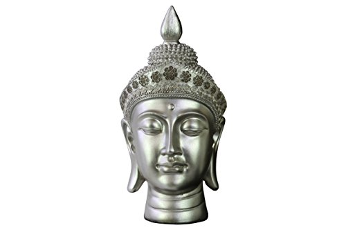 Urban Trends Resin Buddha Head with Pointed Ushnisha and Floral Head Gear Gloss Finish Silver, Silver (Buddha Head Silver)