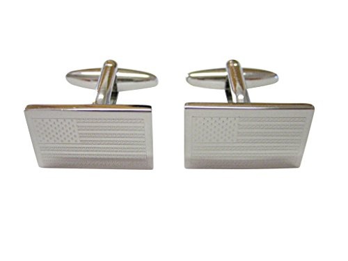Silver Toned Etched USA American Flag Cufflinks