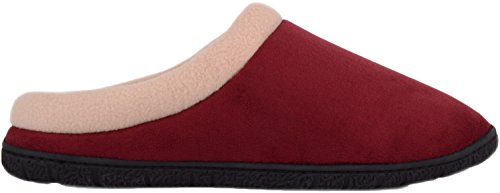 Scarpe Da Uomo Assolute Slip On Mules / Slippers / Indoor Shoes Con Fodera In Pile Bordeaux