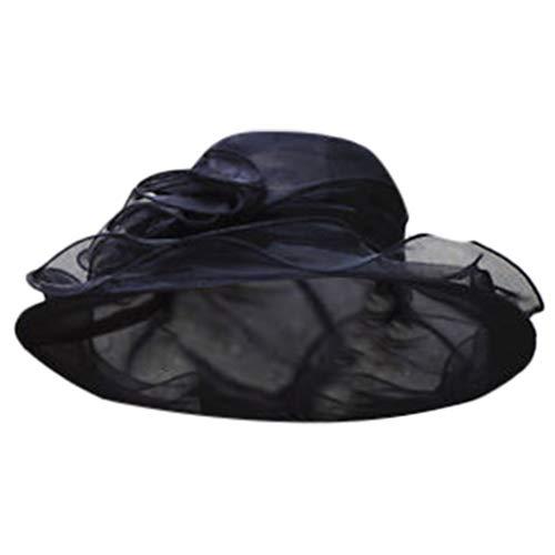 - Womens Wide Brim Wedding Hat,Suma-ma Ladies Church Party Occasional Hats Summer Holiday Organza Sun Hat(Black)