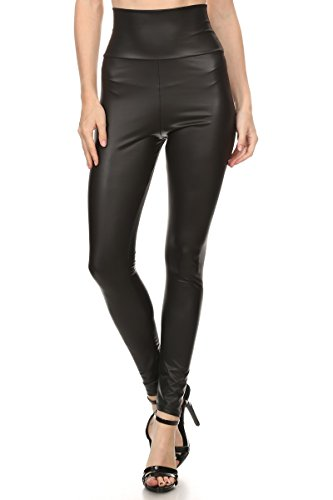 Coated Legging (J2 LOVE Made in USA Women's Faux Leather Hiigh Waisted Leggings (also in Plus Size), 1X Plus,)