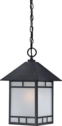 - Nuvo Lighting 60/5604 Drexel Hanging One Light Lantern 100-watt A19 Outdoor Pendant Porch and Patio Lighting with Frosted Seed Glass, Stone Black