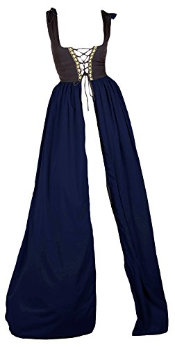 [Renaissance Medieval Irish Costume Two-Toned Fitted Bodice Over Dress (4XL/5XL, Black/Indigo)] (Irish Chemise)