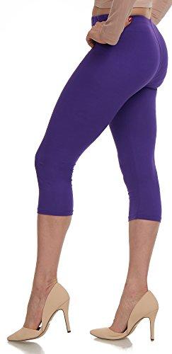 LMB Lush Moda Extra Soft Capri Leggings - Variety Of Colors - (Purple Capri Pants)