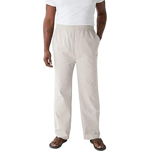 KingSize Men's Big & Tall Elastic Waist Gauze Cotton Pants, Sand Grey Tall-3XL
