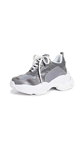 Jeffrey Campbell Women's Lo-Fi Sneakers, Reflective Combo, Grey, Silver, 6.5 M US