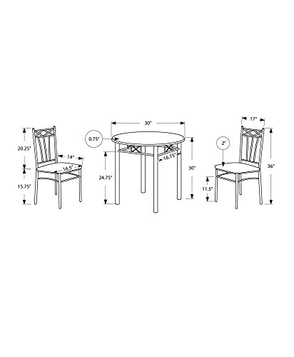 Monarch Specialties Cappuccino Finish Wood and Silver Metal Bistro Dining Set, 3-Piece