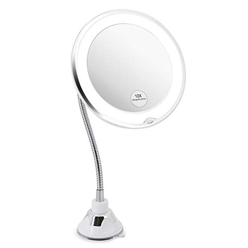 Glam hobby Led 10X Magnifying Makeup Mirror Lighted Vanity Bathroom Round Mirror -