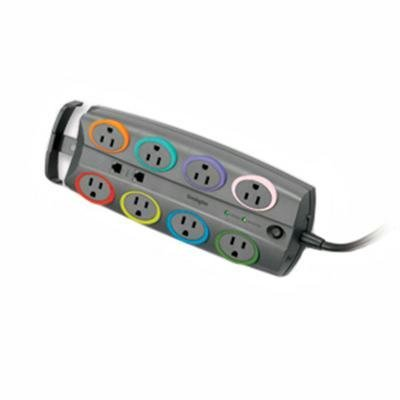 Kensington 62691 Socket Adapter, 3090 Joules, 8 Outlets, 8' Cord, Gray