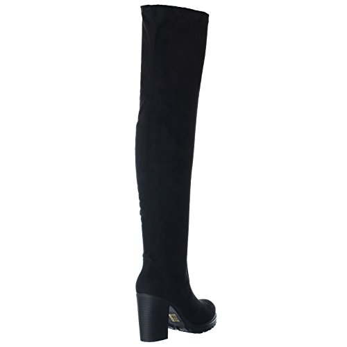 HIGH THIGH SIZE OVER 8 Faux BOOTS PLATFORM Suede HEEL WOMENS SHOES CHUNKY KNEE Black THE LADIES 6 STRETCH 3 4 NEW BLOCK 7 5 wxqtC6IE