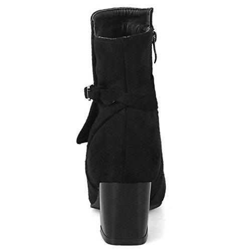 COOLCEPT Damen Kurz Stiefel Zipper Black
