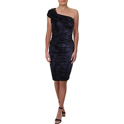 David Meister Womens Beaded One Shoulder Cocktail Dress Purple 8