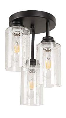 Houzlamod 3-Light Semi-Flush Mount Ceiling Light with Seeded Glass