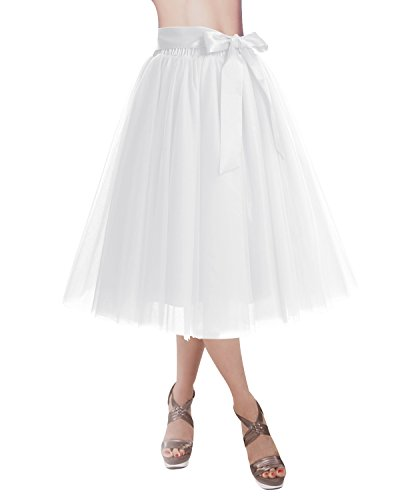 DRESSTELLS Knee Length Tulle Skirt Tutu Skirt Evening Party Gown Prom Formal Skirts White S-M -