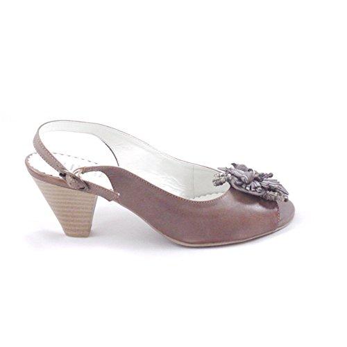 Alpina marrón piel sandalias de sandalias de sling-back