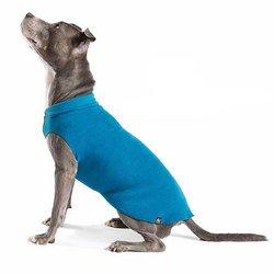 Gold Paw Stretch Blue Fleece Dog Coat - Soft, Warm Dog Clothes, Stretchy Pet Sweater - Machine Washable, Eco Friendly - All Season - Sizes 2-33, Marine Blue, Size 12