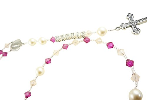 Silk & Fuchsia Mary Medallion Crystal Rosary with Sterling Ornate Cross (Communion Medallion)