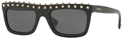 Valentino Women's VA 4010 Black/Light Gold Studs/Grey Sunglasses