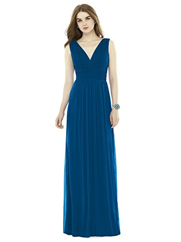 Dessy Women's Full length Sleeveless Chiffon Knit Dress with Shirred V-Neckline - Cerulean - Size 10 Shirred Cocktail
