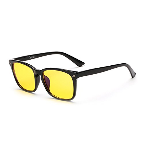Cyxus Anti Blue Light Filter [Sleep Better] UV Block Radiation Eyestrain Reading Safety Glasses Square Computer Eyewear Vintage Classic Frame/Yellow 49mm Lens, Unisex(Men/Women) - Male Frame