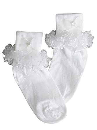 Amazon.com: Girls Dress White Socks - Nylon Fancy Socks for ...